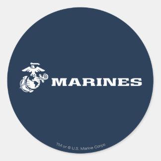USMC Logo - White Classic Round Sticker