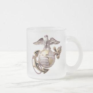 USMC Marines Frosted Glass Coffee Mug