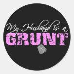 USMC My Husband is a Grunt 0341 Round Stickers