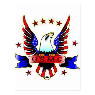 USMC Old School Red White & Blue Eagle Tattoo Postcard