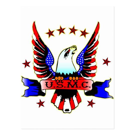 Usmc Old School Red White Blue Eagle Tattoo Postcard Zazzlecom