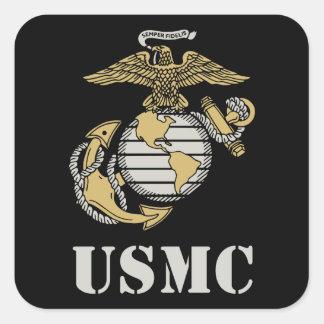 USMC [plantilla] Calcomanías Cuadradass Personalizadas