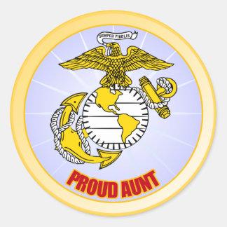 USMC Proud Aunt Classic Round Sticker