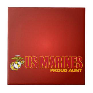 USMC Proud Aunt Small Square Tile