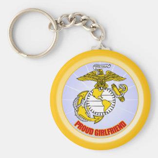 USMC Proud Girlfriend Basic Round Button Keychain