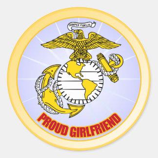 USMC Proud Girlfriend Classic Round Sticker