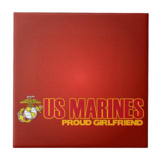 USMC Proud Girlfriend Small Square Tile