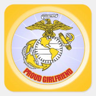 USMC Proud Girlfriend Square Sticker