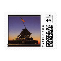 USMC Raising the Flag Postcard Stamp