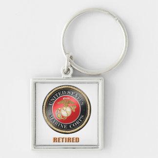 USMC Retired Premium Square Keychain
