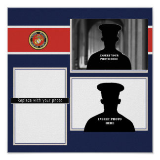 USMC Seal Recognition Photo Collage Poster