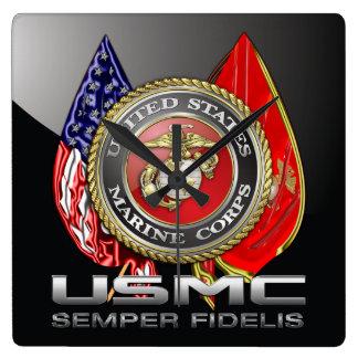 USMC Semper Fi [3D] Reloj Cuadrado