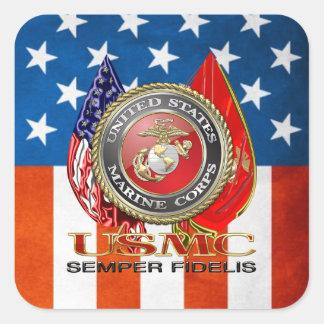 USMC Semper Fi [edición especial] [3D] Calcomanías Cuadradas Personalizadas