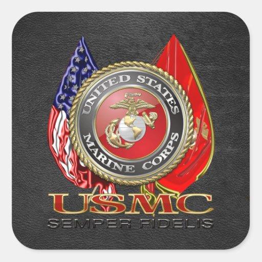 USMC Semper Fi [edición especial] [3D] Colcomanias Cuadradass