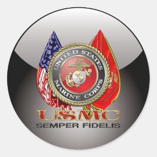 USMC Semper Fi [edición especial] [3D] Pegatina Redonda