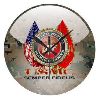 USMC Semper Fi [edición especial] [3D] Reloj Redondo Grande