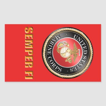 USMC Semper Fi Rectangular Sticker