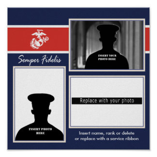 USMC Semper Fidelis Photo Collage Poster
