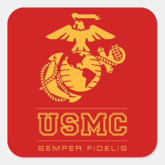 USMC Semper Fidelis [Semper Fi] Calcomania Cuadrada Personalizada