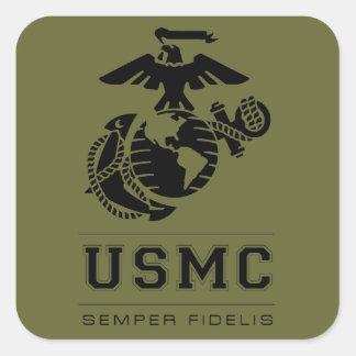 USMC Semper Fidelis [Semper Fi] Calcomanía Cuadrada Personalizada