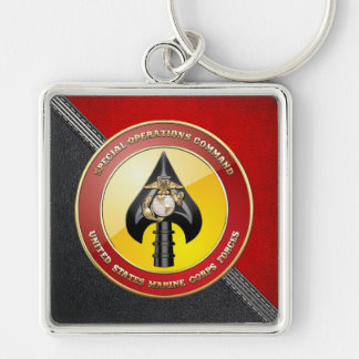 USMC Special Operations Command (MARSOC) [3D] Silver-Colored Square Keychain