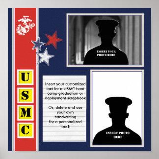 USMC Stars Photo Collage Poster
