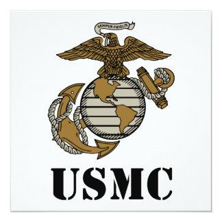 """USMC [stencil] 5.25"""" Square Invitation Card"""