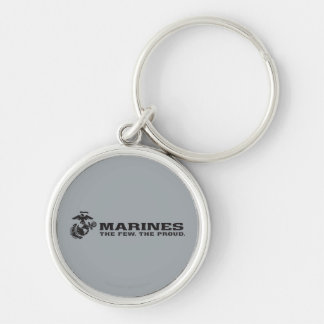 USMC The Few The Proud Logo - Black Silver-Colored Round Keychain
