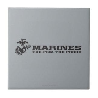 USMC The Few The Proud Logo - Black Small Square Tile