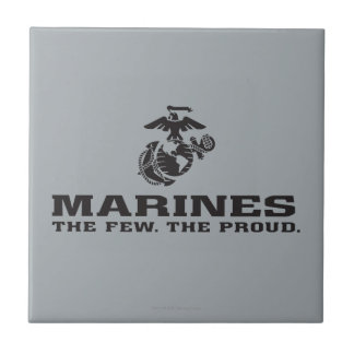 USMC The Few The Proud Logo Stacked - Black Small Square Tile