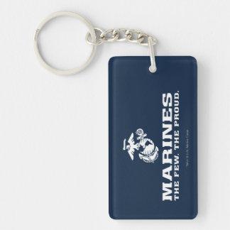 USMC The Few The Proud Logo Stacked - White Keychain