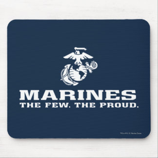USMC The Few The Proud Logo Stacked - White Mouse Pad