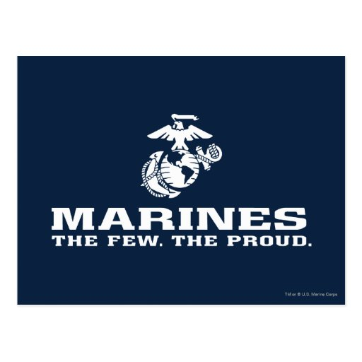 USMC The Few The Proud Logo Stacked - White Post Cards