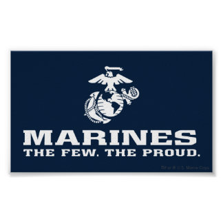 USMC The Few The Proud Logo Stacked - White Poster