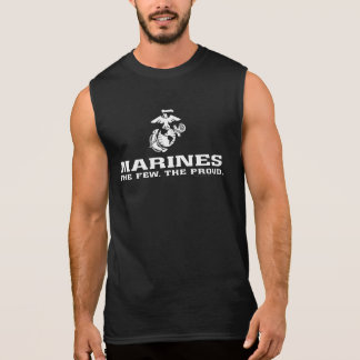 USMC The Few The Proud Logo Stacked - White Sleeveless Shirt
