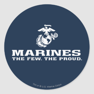 USMC The Few The Proud Logo Stacked - White Stickers