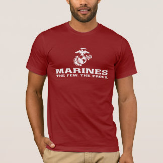 USMC The Few The Proud Logo Stacked - White T-Shirt
