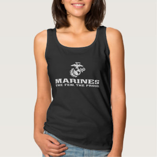 USMC The Few The Proud Logo Stacked - White Tank Top
