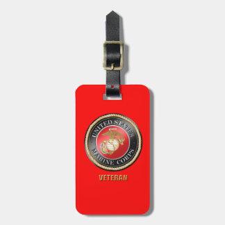 USMC Veteran Luggage Tag w/ leather strap