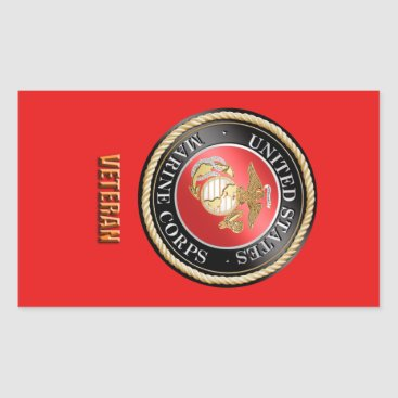 USMC Veteran StickerUSMC, U.S. Marine Corps, woosh Rectangular Sticker