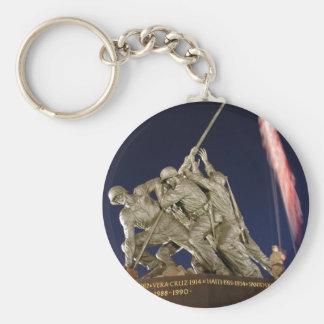 USMC War Memorial Basic Round Button Keychain