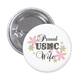 USMC Wife [fl camo] 1 Inch Round Button