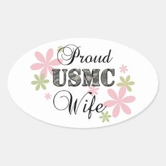 USMC Wife [fl camo] Oval Sticker