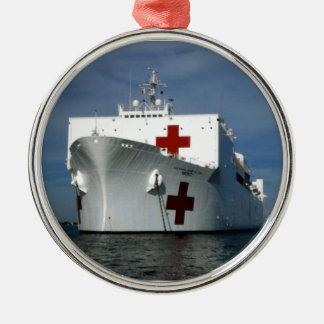 USNS Mercy Hospital Ship Metal Ornament