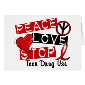 Uso adolescente de la droga de la parada del amor tarjetón