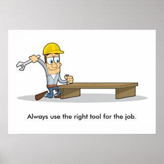 Uso de las herramientas 001 de la mano póster