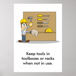 Uso de las herramientas 002 de la mano póster