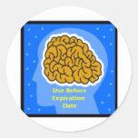 Uso del cerebro antes de la expiración date4 etiquetas redondas