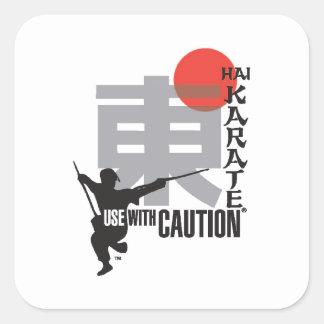 Uso del karate de Hai con la precaución Pegatinas Cuadradas Personalizadas