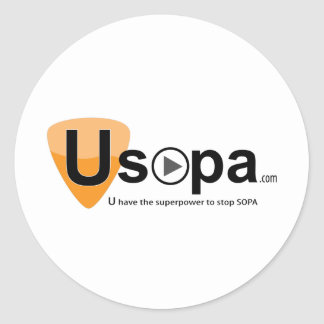 USOPA, you have the superpowers to stop SOPA Classic Round Sticker